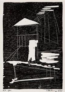 o.T. -Turm-, 6/1995, Holzschnitt, 13,5 x 9,2 cm auf 19,8 x 20,8 cm Buchdruckpapier
