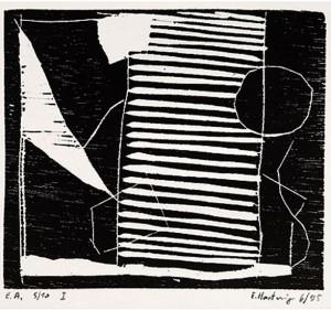 o.T. -quergestreift-, 6/1995, Holzschnitt, 9,7 x 11,2 cm auf 19,8 x 20,8 cm Buchdruckpapier