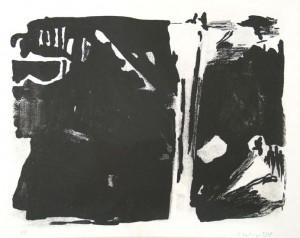 o.T. (2 große Formen), 05/1998, schwarze Tusche-Lithographie, 21 x 27 cm