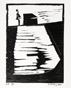 o.T. -Feld und Haus-, 6/1995, Holzschnitt, 13,5 x 9,8 cm auf 19,8 x 20,8 cm Buchdruckpapier