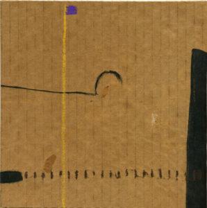 o.T. - Wz007, 2012, Tusche, Ölkreide auf mittelbraune zweiwellige Wellpappe, 18,8 x 18,8 cm