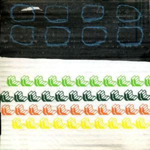 o.T. - Wz011, 2013, Tusche, Ölkreide auf weiße, teilweise bedruckte zweiwellige Wellpappe, 18,9 x 19 cm