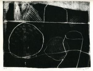 o.T. (landschaftlich), 05/1998, schwarze Schablithographie, 20 x 26 cm