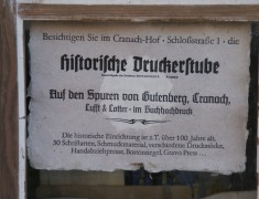 Cranach-Hof, Schloßstr. 1, Schild historische Druckerstube, 03.10.2014, LWi-0049