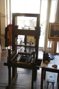 nachgebaute historische Druckpresse, Cranach-Haus, Markt 4, 04.10.2014, LWi-0110