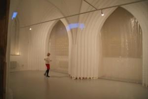 Frankfurt/Oder, Rathaus, Gotische Festhalle mit Schrift-Installation von Ch. Wartenberg