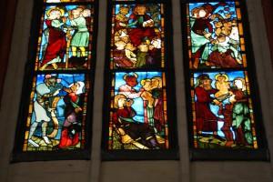 Frankfurt/Oder, Marienkirche, Antichrist-Bleiglas-Apsisfenster, Detail