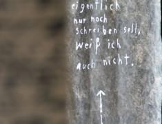 Ch. Wartenberg, Was ich eigentlich ..., 2014, Acryl auf Folie, - E. Hartwig, BRIEF im Anschnitt, Ausstellungsdetail