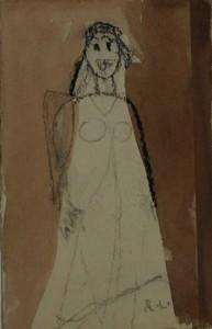 Rolf Lindemann, Kleiner Engel, o.J., Sepia, Kohle, Pappe, 23 x 15 cm
