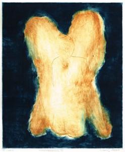 WEINENDERENGEL VI, 11/2014, 2-Farb-Kaltnadelradierung mit Wiegemesser und Sandpapier, geschabt, von einer Platte 29,5 x 24,5 cm, Unikat, sign. VI 1/1-3