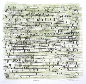 HSKRIPT, 2010, 2-Farb-Monotypie, 21,5 x 22 cm