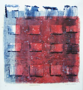 E. Hartwig, HAVENAMABEND, 01/2010, Blau-Rot-Monotypie, 23,5 x 23 cm