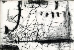 """R. Mucke + K. Tiefensee + E. Hartwig, """"28. Feb."""", 2015, Kaltnadel + Wiegemesser + Sandpapier + Schaber, 14,2 x 21 cm"""