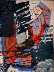 Karin Tiefensee, Dunkler Gruß, 2014, Mehrfarbentiefdruck mit Collage, 21 x 16 cm