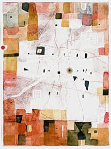 R, Mucke, o,T, 2014, Prägedruck, Aquarell, 38,5 x 29 cm