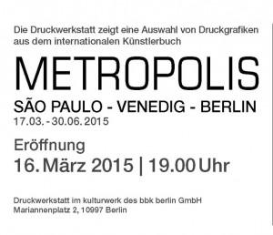 Einladung Metropolis 16. März 2015 in Berlin