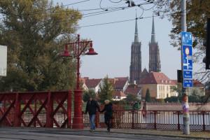 Dominsel mit Dom-Kathedrale des Hl. Johannes, von Piaskowybrücke aus gesehen, 23.10.2016