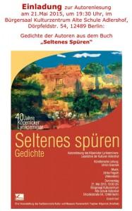 """Einladung zur Autorenlesung """"Seltenes Spüren"""" am 21.05.2015"""