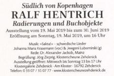 Ausstellungseinladung R. Hentrich, Titelseite Text