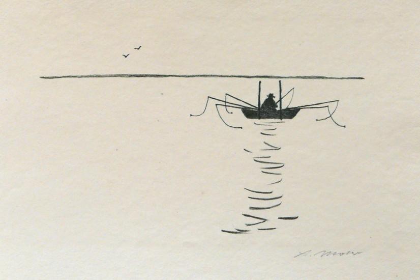 Arno Mohr, Angler, Lithographie, Ende der 50er Jahre, Quelle: Galerie der Berliner Graphikpresse