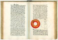 """Illustration zum Kapitel """"Mond"""", Georg von Peuerbach (1423-1461), Theoricae novae planetarum, Leipzig, nach 1505, Cod. 5274, foll. 71v_72r © Österreichische Nationalbibliothek"""