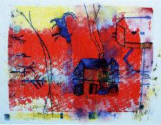 Rahel Mucke, Blauer Hund, Monotypie und Aquarell, 25,5 x 34 cm