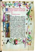 Titelseite mit Widmung an Kaiser Friedrich III. (1415–1493), Johannis de Albertis aus Capodistria, 3. Viertel 15. Jh., Cod. 2456, fol. 1r © Österreichische Nationalbibliothek