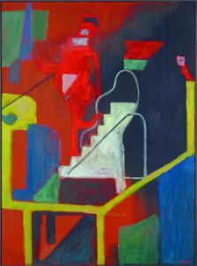 Wolfgang Leber, Akt, eine Treppe hinabsteigend, 2013, Öl auf Leinwand, 135 x 100 cm, Foto: Ilona Ripke, Berlin/VG Bildkunst, Bonn