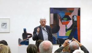 Wolfgang Leber dankt, Ausstellungseröffnung am 27. September 2016, Foto: Galerie Parterre, Berlin