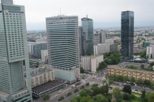 neue Hochhäuser, Rundblick vom Kulturpalast, Warschau, 17.05.2016