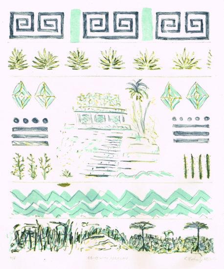 08-19 WITH ABRAHAM, 08/2017, 3-Farb-Kreide- + Tusche-Marmor-Lithographie, 29,5 x 25 cm, sign. 4/6