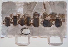 15TASSEN, 06.11.2017, Asphalt, Gesso auf weiße Tragetasche, 34,5 x 51,5 cm