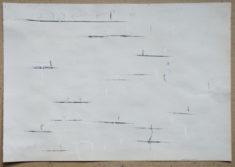 2018-01-11 II, weisse Kreide und Kohle auf Zeichenpapier, 35,3 x 50,6 cm
