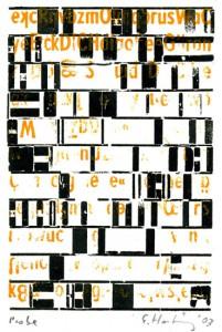 E. Hartwig, DICH, 2003, ockerfarbene Bleischrift und schwarzer Blindmaterial-Probedruck, 10,9 x 7,4 cm auf A6, signiert Probe