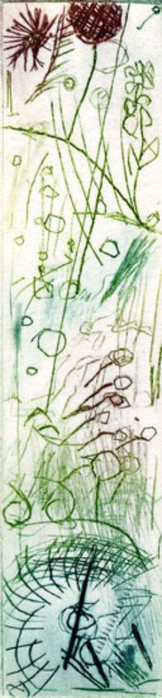 HERBSTLICH, 10/2019, Kaltnadelradierung, 14,2 x 3,3 cm, sign. 1/1-7