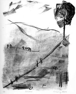 HINAUF, 08/2016, Kreidelithographie, 23,5 x 19 cm, sign 2/6