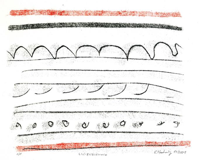 LINIENSCHWUNG, 10/2021, 2-Farb-Monotypie, 16,5 x 21 cm, sign. 1/1