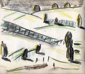 Pourville-sur-Mer, 23.08.2016, Kohle, Kreide, Farbstift in Skizzenbuch 25 x 25 cm, Ausschnitt 21 x 24,5 cm