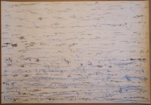 Rhythmus nach Saxophon, 01.12.2016, Kohle, blauer Buntstift auf Leinenstrukturpapier, 43,8 x 63 cm