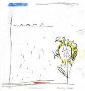 SONNENBLUMEINLS, 10/2020, 4-Farb-Monotypie, 21 x 18 cm auf 42 x 30 cm Papier
