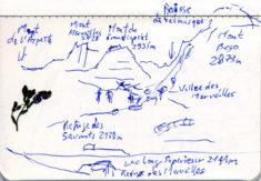 Vallee des Merveilles, 06.08.2018, Kugelschreiber in Skizzenbuch/ballpoint pen in sketchbook, 9,6 x 14 cm
