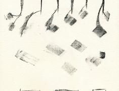 ZWISCHENSTUECK, 05/2016, Kreidelithographie, 24,5 x 18,5 cm auf 33 x 25,5 cm RICHARD DE BAS A Ambert d´Auvergne comme en 1326 Papier, sign 10/10
