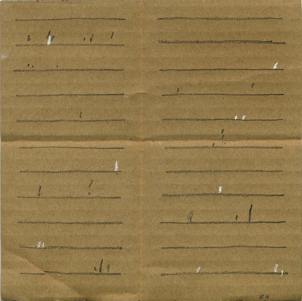 o.T. - Wz039, 02/2018, Graphit, Weiß-Kreide auf mittelbraune einwellige Wellpappe, 18,8 x 18,8 cm