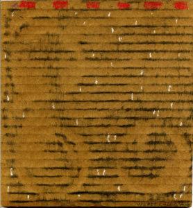 o.T. - Wz021, 04/2015, Kohle, Ölkreide auf dunkelbraune zweiwellige Wellpappe, 19,5 x 18,2 cm
