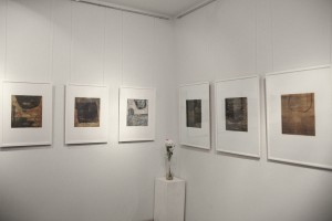 """Ausstellungsansicht, Radierungen aus der Serie """"B"""", 2015,   Foto: K. Snigirevskaya"""