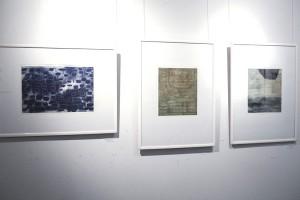 """GROSSEREGATTA I, 2014, Aqua-Strich-Hochdruck, sowie zwei Radierungen aus der Serie """"B"""", 2015,   Foto: K: Snigirevskaya"""
