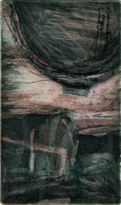 B-b8, 9/2001,3-Farb-Platten-Aquatinta,geschabt, mit Wiegemesser und Kaltnadel, 15 x 9 cm