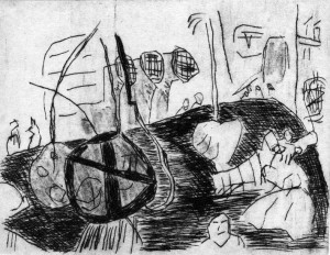 TINGUELY, 08/1998, Kaltnadelradierung, 11,9 x 15,4 cm