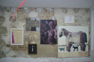 Hängung, Wand mit E. Hartwig, NAHEB, 2000, Mischtechnik auf Leinwand