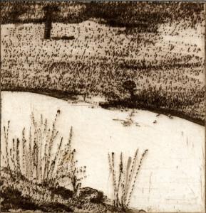 G. Bekker, an der Eider, 1981, Kaltnadelradierung, 8,6 x 8,3 cm, sign 1/1